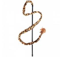 Flamingo Leopard Fishing Rod Игрушка удочка для котов с перьями и колокольчиком 50 см