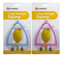 Flamingo Swing+Abacus+Bell Игрушка для птиц жердочка с колокольчиком и счетами  10х13 см