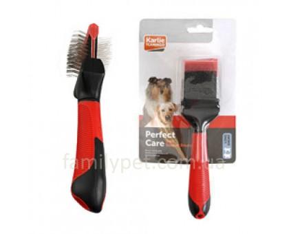Flamingo Soft Slicker Brush 2in1 Пуходерка сликер для собак малых и средних пород  S/M