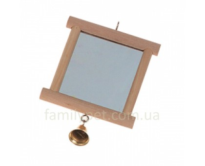 Flamingo Wooden Mirror Игрушка для птиц зеркало в деревянной раме с колокольчиком