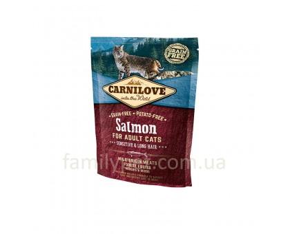 Carnilove Cat Sensitive & Long Hair Корм для кошек с чувствительным пищеварением с лососем