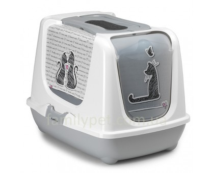Moderna Trendy Cat Cats in Love Закрытый туалет для кошек c угольным фильтром и совком дизайн Влюбленные Коты светло-серый 50х39х37см