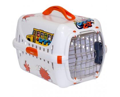 Moderna Trendy Runner Graffiti Street Переноска для котов и собак с металлической дверцей и замком IATA  51Х31Х34 см