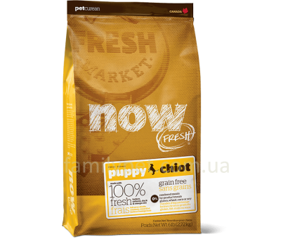 NOW Fresh Puppy Recipe Grain Free Беззерновой для щенков с индейкой, уткой и лососем