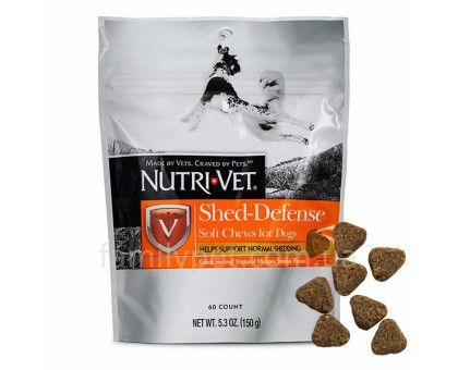 Nutri-Vet Shed-Defense Soft Chews НУТРИ-ВЕТ ЗАЩИТА ШЕРСТИ витамины для шерсти собак, жевательные таблетки 60 таб.