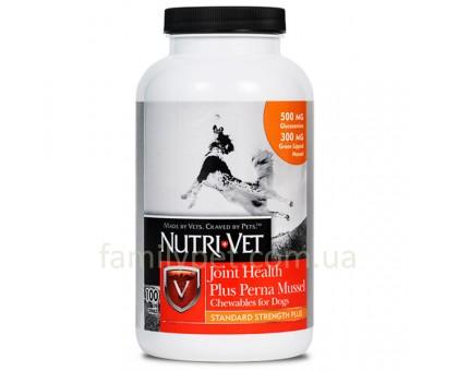 Nutri-Vet Joint Health Plus Perna Mussel НУТРИ-ВЕТ ЗДОРОВЬЕ СУСТАВОВ СТАНДАРТ ПЛЮС жевательные таблетки с глюкозамином, мидиями, МСМ для собак 100 таб.