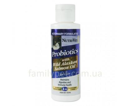 Nutri-Vet Probiotics Salmon Oil Добавка для кошек пробиотики с маслом лосося