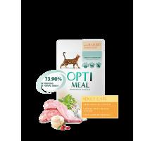 OPTIMEAL консервы для котов с кроликом в белом соусе 85 г