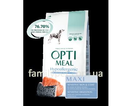 OPTIMEAL Гипоалергенный сухой корм для собак средних и крупных пород с лососем 12 кг