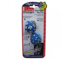 Petstages Игрушка для котов Пара бесшумных мячиков, светящиеся