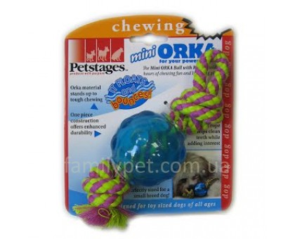 Petstages Игрушка для собак Орка мини мячик с канатом