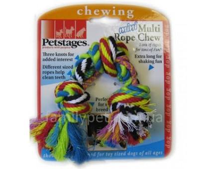 Petstages Игрушка для собак Цветной мини канат с узнами