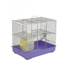 """Клетка для грызунов """"Микки"""" с колесом хром/фиолетовая 37х25х30 см"""