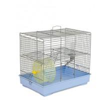"""Клетка для грызунов """"Микки"""" с лесенкой хром/светло-голубая 37х25х30 см"""