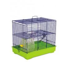 """Клетка для грызунов """"Микки"""" с колесом синяя/зеленая 37х25х30 см"""