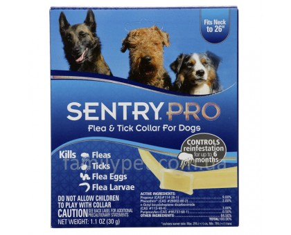 Sentry Pro Ошейник от блох, клещей блох для собак 6 месяцев защиты  56 см