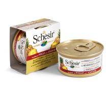 Schesir Chicken Pineapple Натуральные консервы для кошек с куриным филе и ананасом банка 75 г
