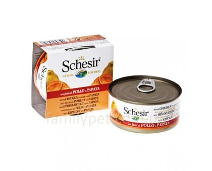 Schesir Chicken Papaya Натуральные консервы для собак с куриным филе и папайей в желе банка 150 г