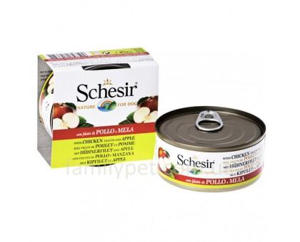 Schesir Chicken Аpple Натуральные консервы для собак с куриным филе и яблоком в желе банка 150 г