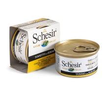 Schesir Cat Tuna Surimi  Натуральные консервы для кошек с тунецом и сурими в желе банка 85 г