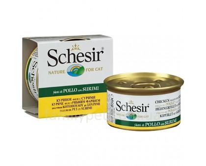 Schesir Chicken Surimi Натуральные консервы для кошек с куриным филе и сурими в желе банка 85 г