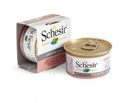 Schesir Salmon Natural Style Натуральные консервы для кошек с лососем в собственном соку банка 85 г