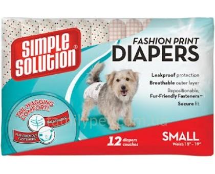 Simple Solution Fashion Disposable Diapers Small Гигиенические подгузники для животных с рисунком размер S 12 шт