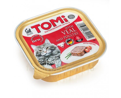 TOMi veal poultry Консерва для котов паштет с телятиной 100 г