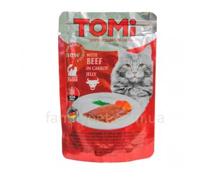 TOMi BEEF in carrot jelly ТОМИ Консерва для кошек с говядиной в морковном соусе 100 г