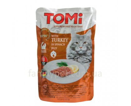 TOMi TURKEY in spinach jelly Консерва для кошек индейка в желе 100 г