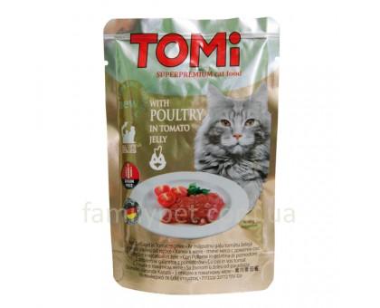 TOMi POULTRY in tomato jelly Консерва для кошек с курицей в томатном соусе 100 г