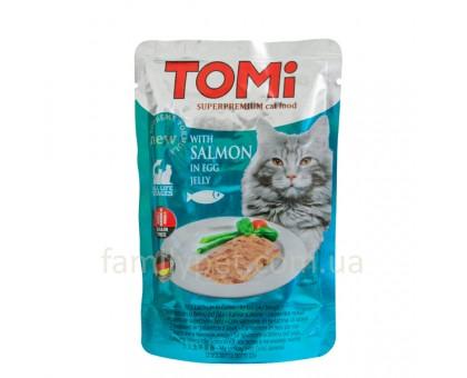 TOMi SALMON in egg jelly Консерва для кошек лосось в яичном желе 100 г