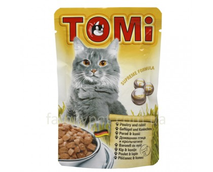 TOMi poultry rabbit Консерва для кошек кролик в желе 100 г