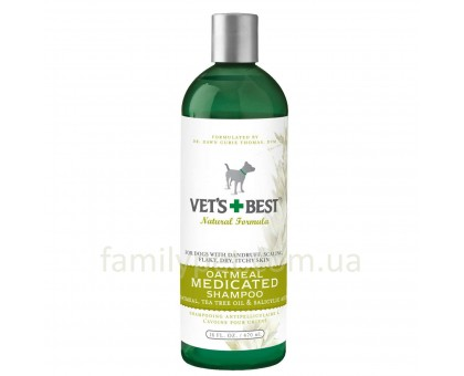 VET`S BEST Oatmeal Med Shampoo Шампунь от перхоти для сухой кожи 470 мл