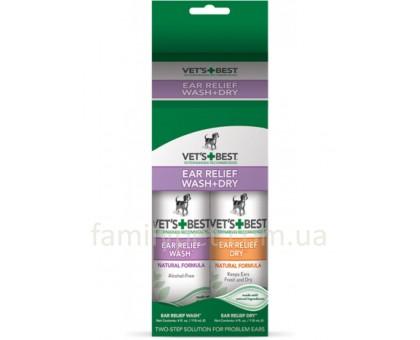 VET`S BEST Ear Relief Wash & Dry Набор для чистки ушей