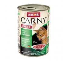 Animonda Carny Консерва для взрослых кошек с говядиной, индейкой и кроликом 400 гр
