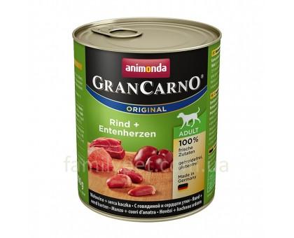 Animonda GranCarno Консерва для взрослых собак c говядиной и сердцем утки 800 гр