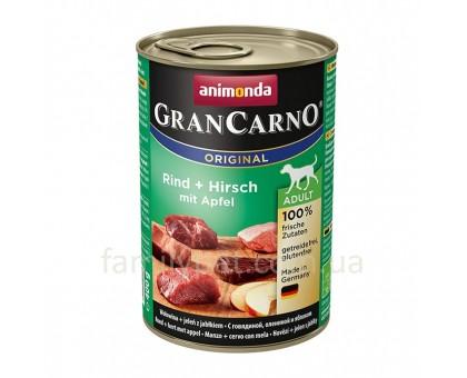Animonda GranCarno Консерва для взрослых собак c говядиной и олениной и яблоком 800 гр