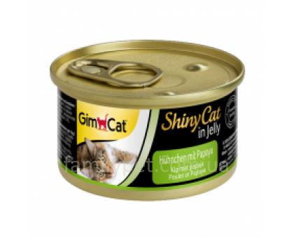 Shiny Cat Консервы для кошек с курицей и папаей 70 г